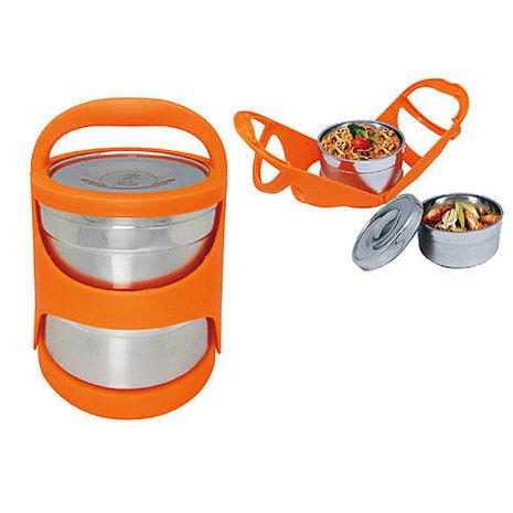 【鍋霸】雙層提籃保溫便當盒-橘 DL-0041
