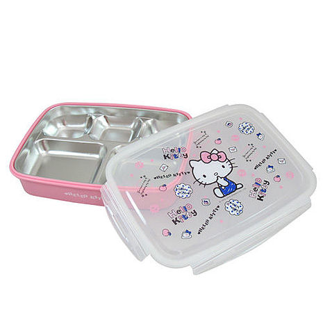 【HELLO KITTY】凱蒂貓304不鏽鋼隔熱餐盒-手繪 KS-8150