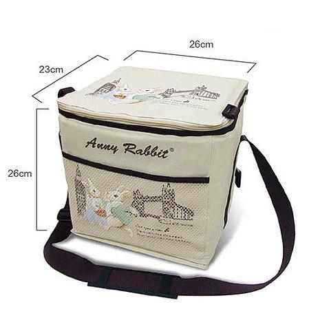 【安妮兔】大容量20瓶易開罐裝保溫保冷野餐袋 附網 143Y-2511W