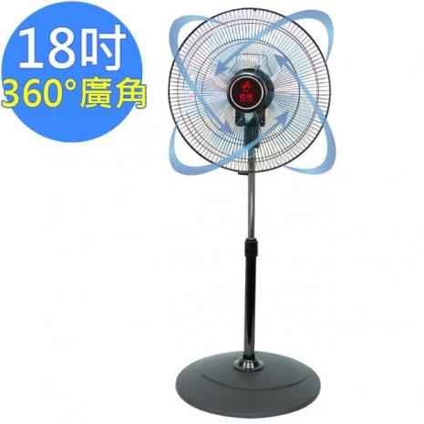 【勳風】360度立體擺頭超廣角循環立扇(HF-B1818)18吋