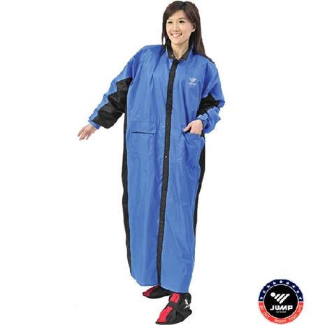 新二代【JUMP】新帥前開式休閒風雨衣-藍黑2XL