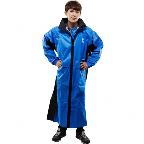 新二代 JUMP新帥前開式休閒風雨衣-藍黑3XL