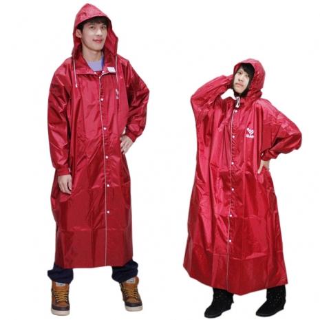 JUMP新二代前開素色雨衣+通用鞋套黑色-紅色