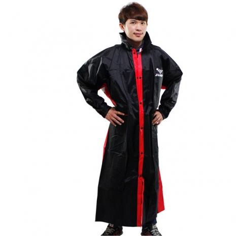 新二代 JUMP優帥前開式休閒風雨衣-黑紅2XL