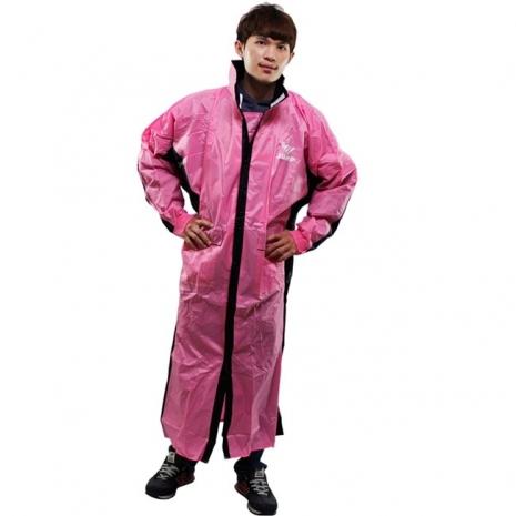 新二代 JUMP優帥前開式休閒風雨衣-粉紅黑3XL