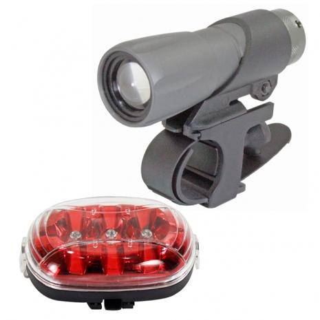 皇家騎士3W伸縮調焦變光手電筒+皇室貴族後警示燈