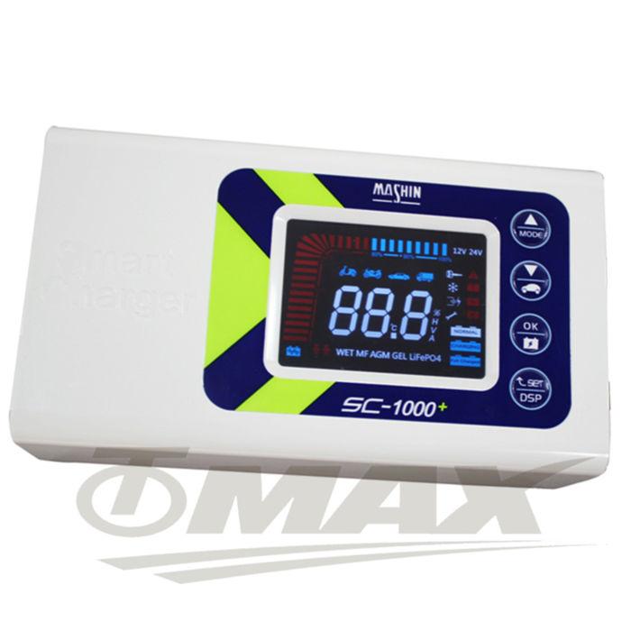 omax智慧型鉛酸鋰鐵雙模式汽機車電瓶充電器-sc1000+