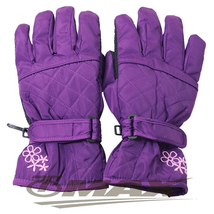 OMAX菱格花防潑水防寒機車手套-紫色