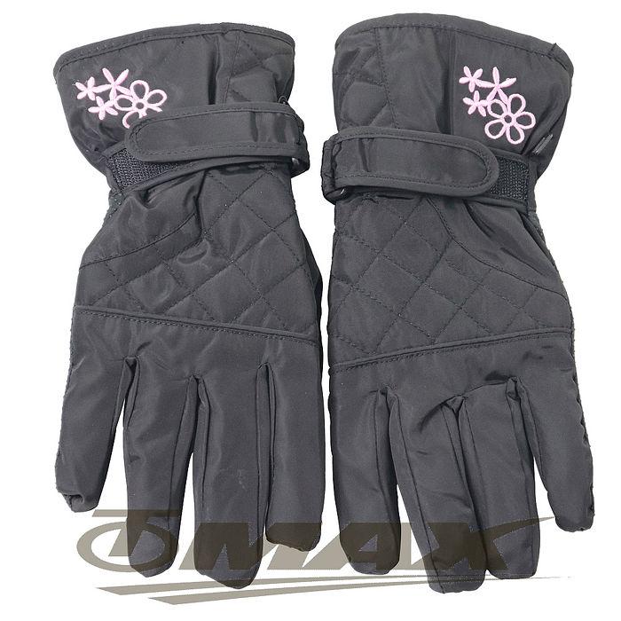 OMAX菱格花防潑水防寒機車手套-黑色