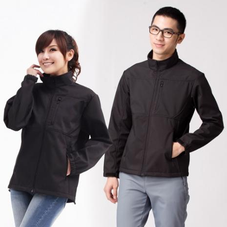 【遊遍天下】中性款防水防風透濕軟殼刷毛機能型外套A018黑色