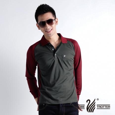 【遊遍天下】MIT 台灣製男款抗UV涼爽吸濕排汗機能POLO長衫 L006鐵灰/暗紅