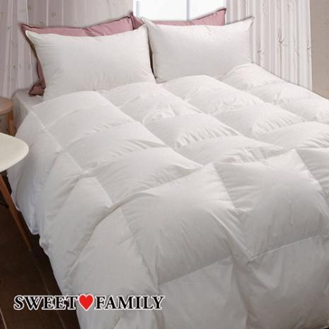 【SWEET FAMILY】甜蜜家庭MIT 天然水鳥羽毛高級防絨羽絨被一被二枕超值組(白)