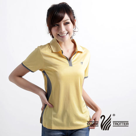 【遊遍天下】女款時尚休閒抗UV吸濕排汗機能POLO衫MS009黃-夏出清XL