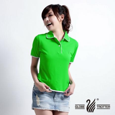 【遊遍天下】MIT台灣製女款抗UV涼爽吸濕排汗機能POLO衫S045翠綠