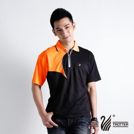 【遊遍天下】MIT台灣製男款抗UV涼爽吸濕排汗POLO衫S041黑/桔2L