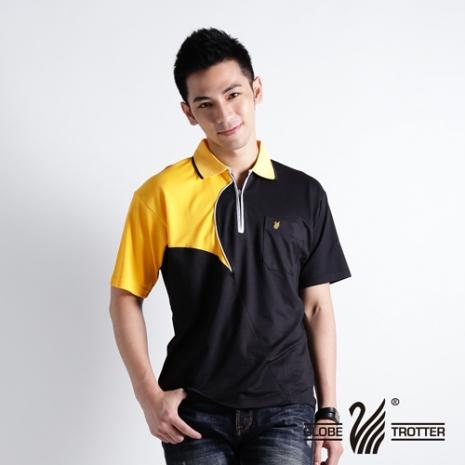 【遊遍天下】MIT台灣製男款抗UV涼爽吸濕排汗POLO衫S041黑/黃2L