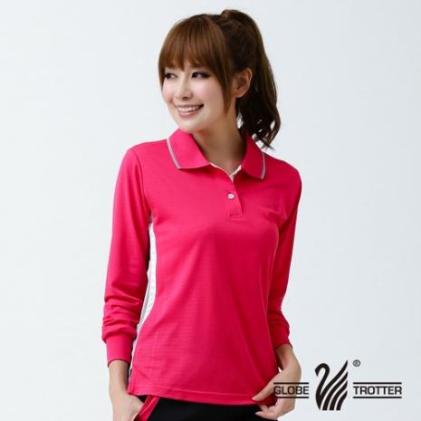 【遊遍天下】MIT台灣製女款長袖吸濕排汗POLO衫L076玫紅L
