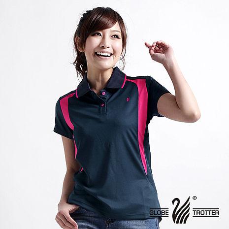 【遊遍天下】MIT台灣製女款抗UV涼爽吸濕排汗機能POLO衫5063丈青/玫紅