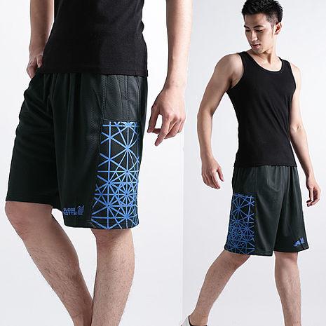 【遊遍天下】MIT台灣製男款時尚休閒運動短褲P121A黑/藍-夏出清L
