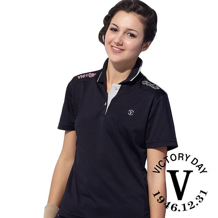 【VICTORY DAY】MIT女款抗UV休閒吸濕排汗機能POLO衫V080黑
