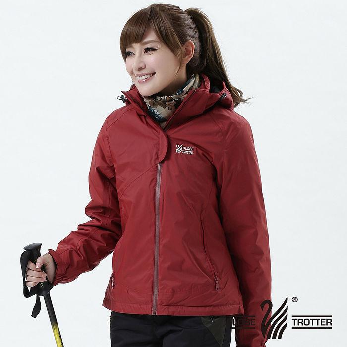 【遊遍天下】GlobeTex中性款JIS90%羽絨防水貼條機能羽絨外套A001磚紅L
