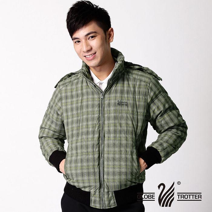 【遊遍天下】JIS90%羽絨耐寒保暖連帽防風防潑水外套A008軍綠格L