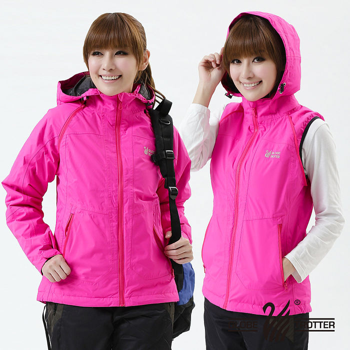 【遊遍天下】Globetex女款JIS90%羽絨背心外套兩穿防風防水機能羽絨外套A095玫紅XL