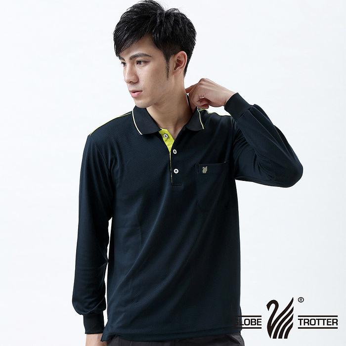 【遊遍天下】MIT 台灣製男款抗UV涼爽吸濕排汗機能POLO長衫L003深藍