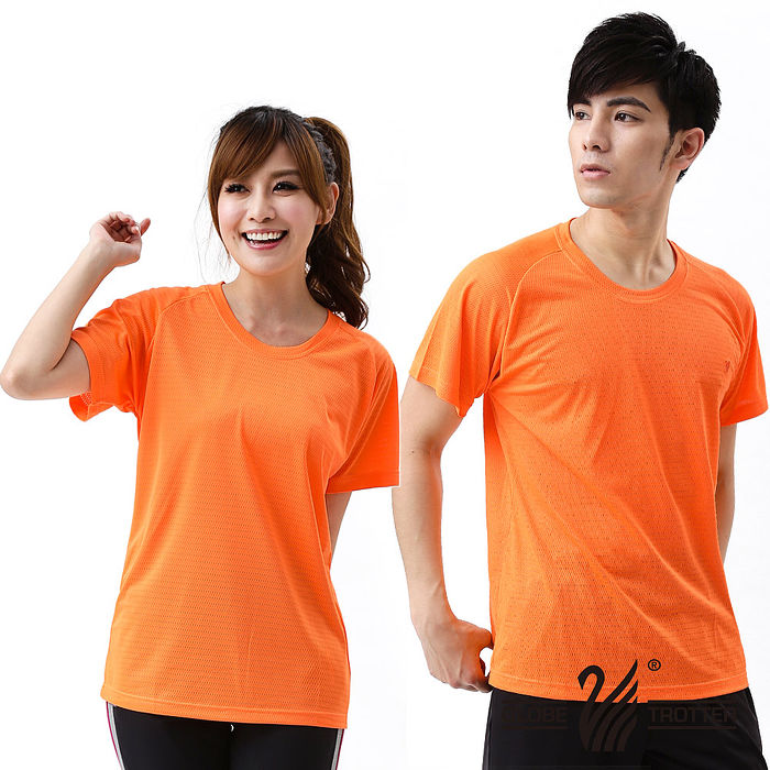 【遊遍天下】100% MIT中性款網紋涼感圓領吸濕排汗機能衫S0706亮橘