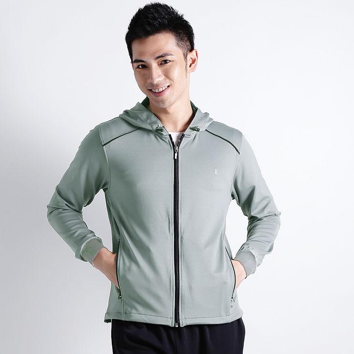 【遊遍天下】MIT台灣製男款抗UV吸濕排汗機能連帽外套112-1淺灰XL