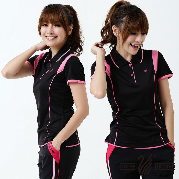 【遊遍天下】MIT台灣製女款顯瘦抗UV涼爽吸濕排汗機能POLO衫S127黑色XL