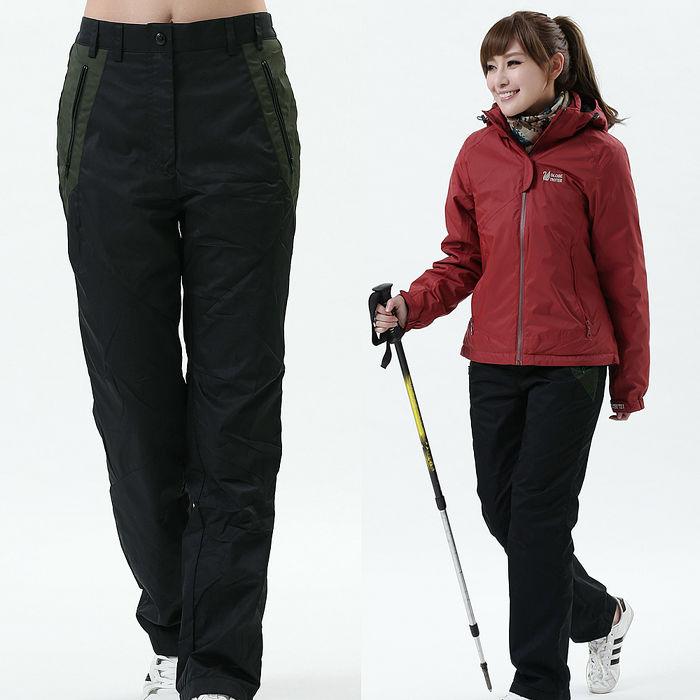 【遊遍天下】女款顯瘦直筒配色防風防潑水禦寒刷毛保暖褲/ 防風雪褲P105黑色