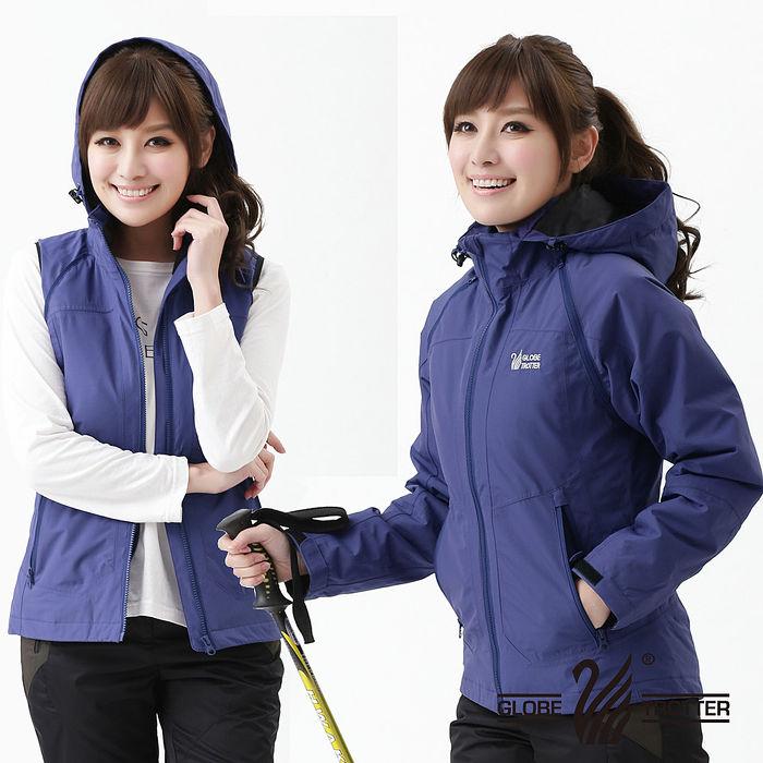 【遊遍天下】Globetex女款JIS90%羽絨背心外套兩穿防風防水機能羽絨外套A095藍紫L