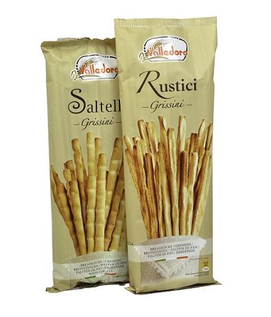 《Valledoro》義大利竹節鹽味麵包棒(100g)x3包義大利鄉村法式麵包棒x2-APP