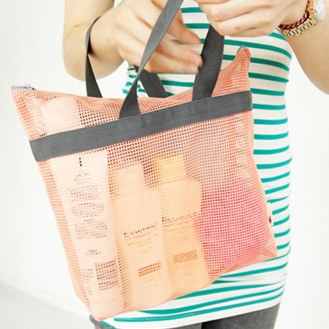【韓版】網狀旅行手提袋 收納袋(2色)粉橘