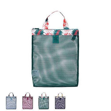 【韓版】繽紛印花系列網格手提拉鍊袋(4色)藍色花朵