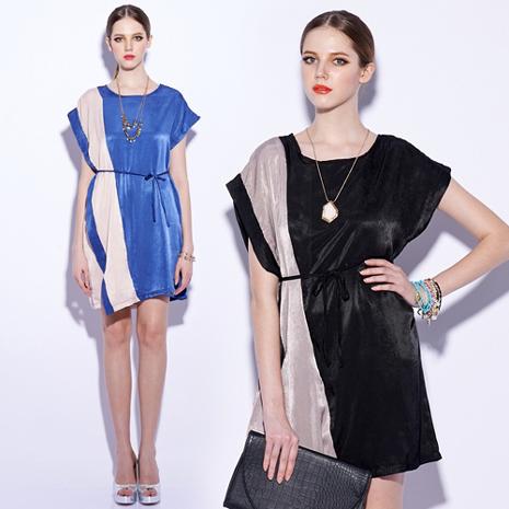 最後一件!【vivi薇時尚】天絲撞色拼接蝙蝠袖不對稱洋裝(藍色)