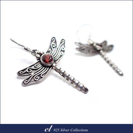 el 925銀飾 - 石榴石耳環 Red Dragonfly