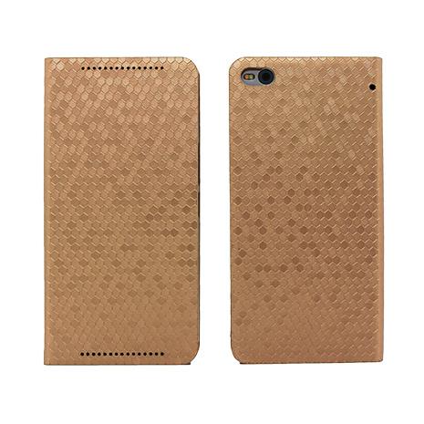 【HOMOSA】HTC X9蜂巢格紋皮套-金