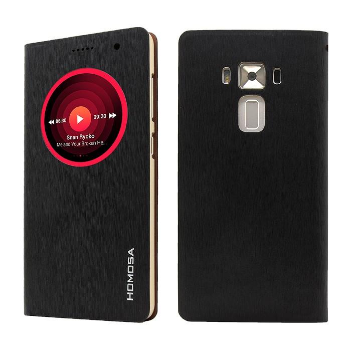 【HOMOSA】ZenFone 3 Deluxe ZS570KL視窗休眠皮套-黑