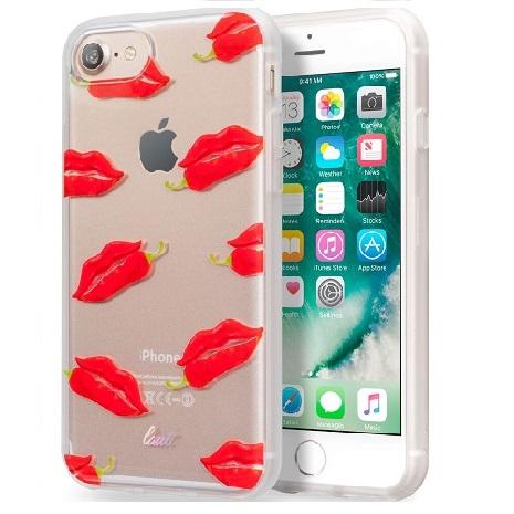 【LAUT】iPhone 7透明雙料保護套-嗆辣紅唇