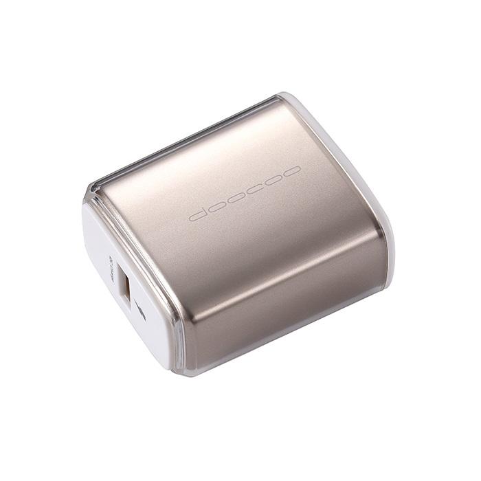 【Doocoo】iQC 2.0 USB急速充電器-香檳金