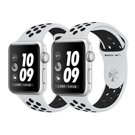 Apple Watch Nike+ 42mm 銀色鋁金屬Pure Platinum 配黑色 Nike 錶帶