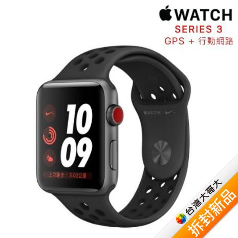Apple Watch Nike+ GPS+行動網路版_42mm 太空灰鋁金屬錶殼配上煤黑色黑色 Nike 運動錶帶【拆封新品】