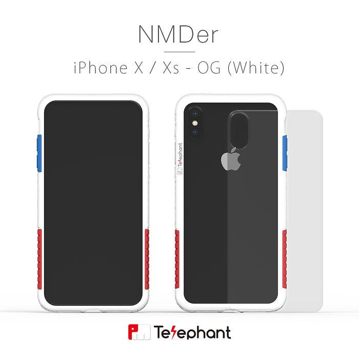 太樂芬 Telephant NMDER iPhone XS/X 抗污防摔邊框透殼 - 白OG
