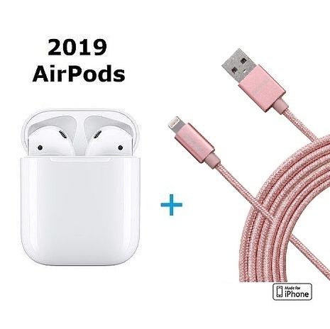 【2019 AirPods贈品組】新版 Apple原廠AirPods 無線耳機 +贈【2M長】ONPRO Apple認證編織傳輸線-玫瑰金