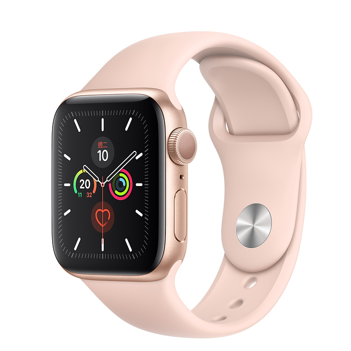 【狂降$1000】Apple Watch Series 5 GPS 版 40mm 金色鋁金屬錶殼配淺粉紅色運動錶帶 (MWV72TA/A)