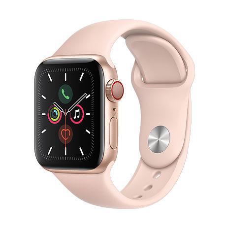 Apple Watch Series 5 GPS + LTE 版 44mm 金色鋁金屬錶殼配淺粉紅色運動錶帶 (MWWD2TA/A)
