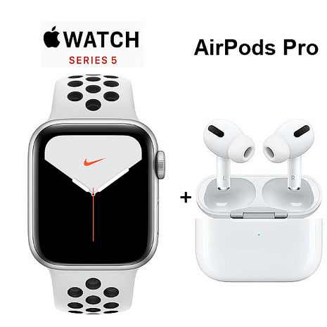 【AirPods Pro 現貨組】Apple Watch Nike+ Series 5 GPS + LTE 版 40mm銀色配黑色 Nike 運動錶帶 (MX3C2TA/A)+AirPods Pro