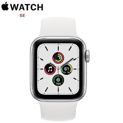 Apple Watch SE GPS 版 40mm 銀色鋁金屬錶殼配白色運動錶帶 (MYDM2TA/A)